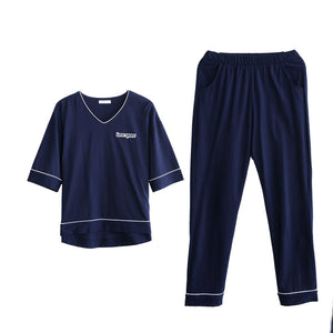 Couples Cotton Short Sleeve Home Wear Pajamas Loungewear Set