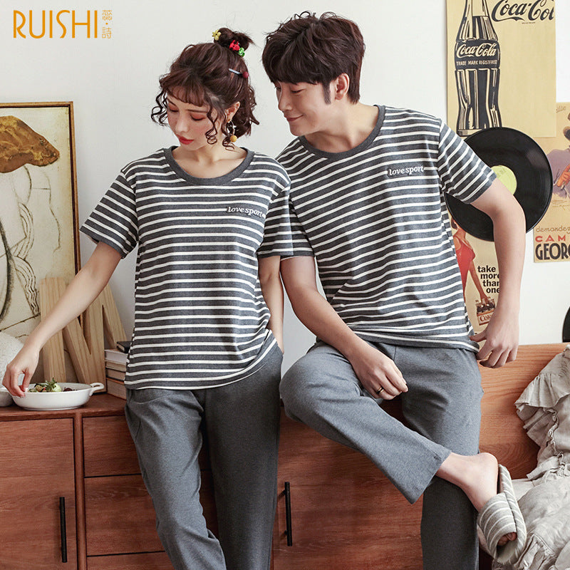 Couples pajamas spring/summer cotton pullover casual striped home pajamas short sleeve pants loose