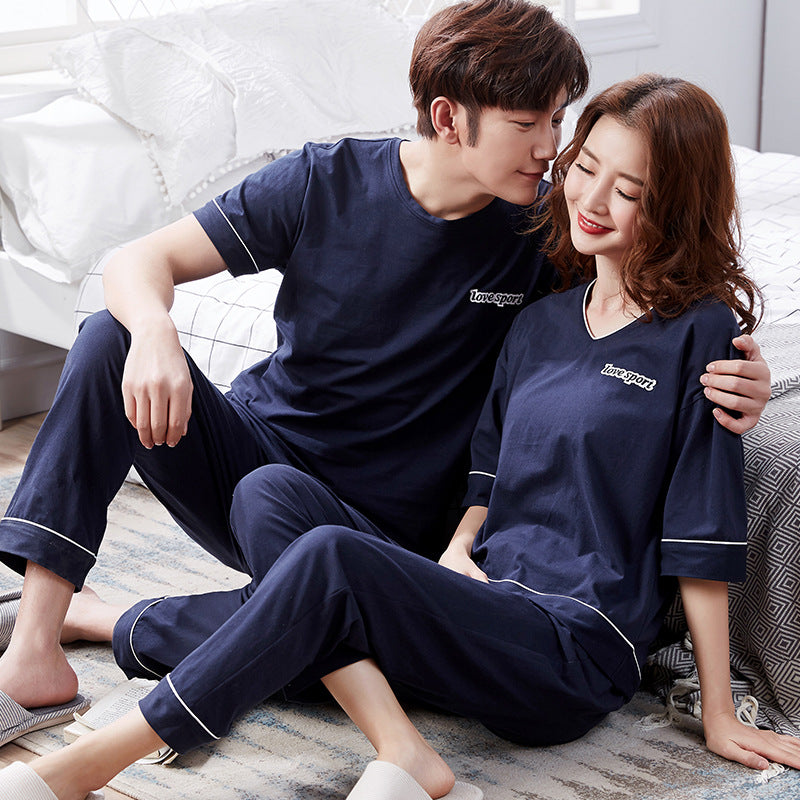 Couples pajamas 100% cotton casual home wear, head and short sleeve pantsuits for outings