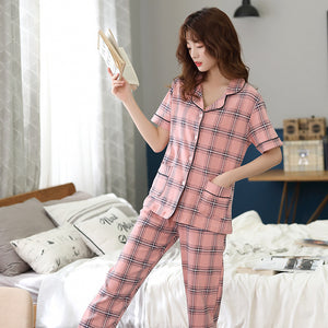 Couples pajamas spring/summer new check cardigan casual lapel
