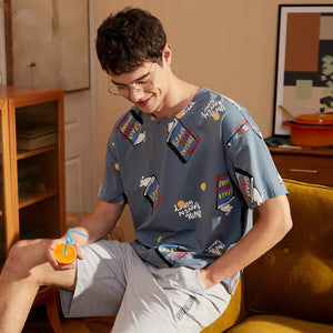 Cartoon Couple T-shirt & Shorts Matching Pajama
