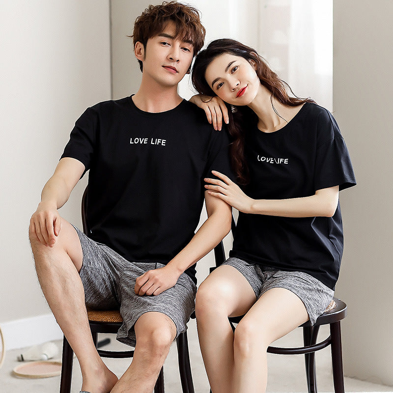 Cotton pair pajamas summer short sleeve pullover thin large size loose casual for home wear