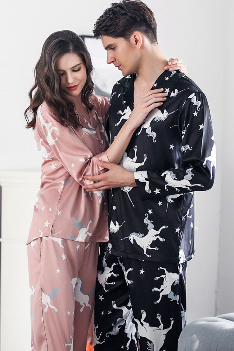 Polyester Unicorn Couple Matching Pajamas-Pink/Black