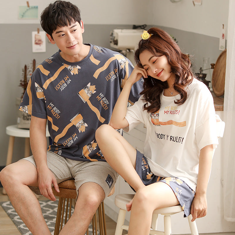 Kitten Couple T-shirt & Shorts Matching Pajama