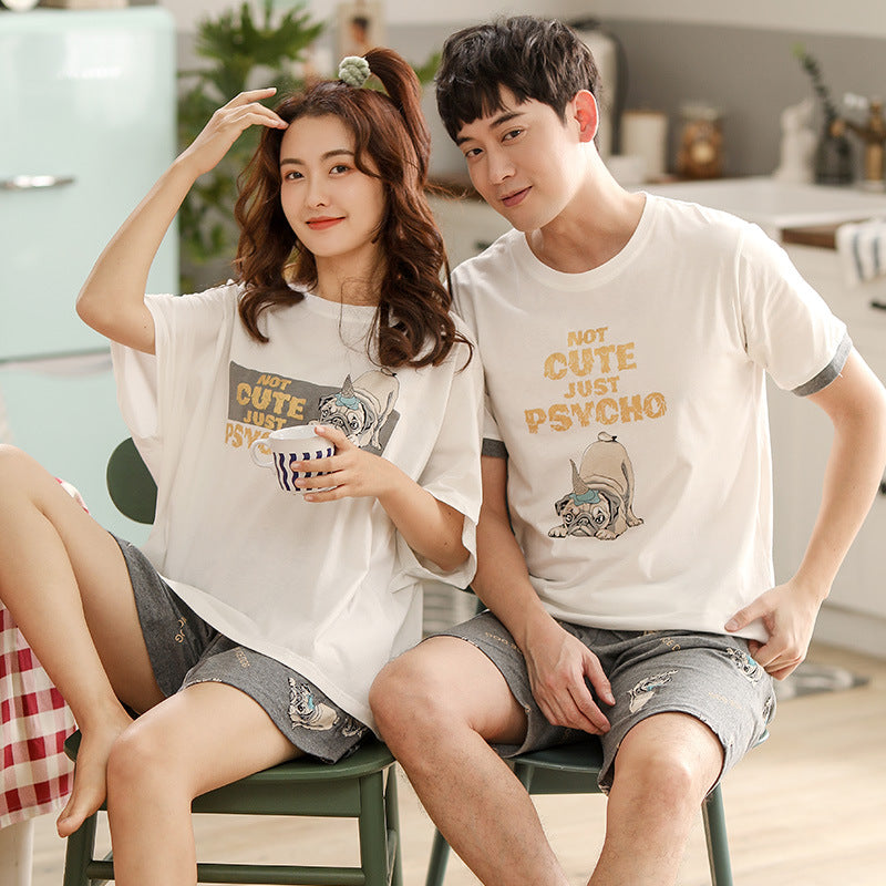 Cute bulldog Couple T-shirt & Shorts Matching Pajama