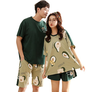 Avocado Couple T-shirt & Shorts Matching Pajama