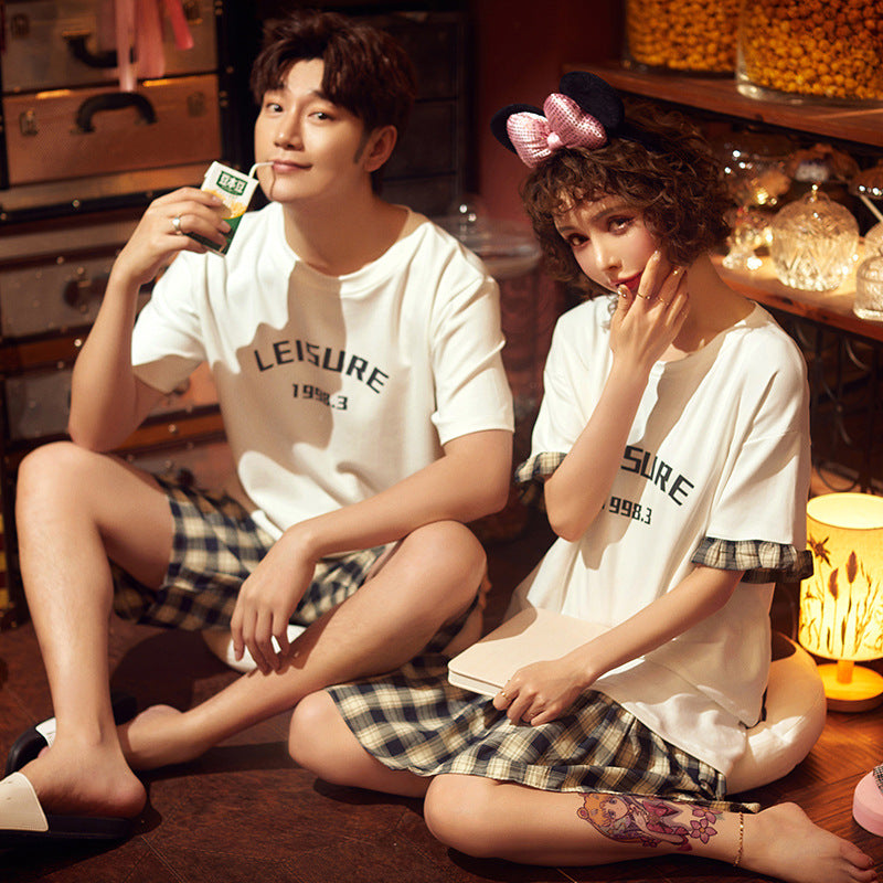 Leisure Couple T-shirt & Shorts Matching Pajama