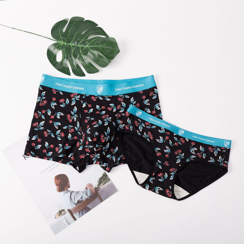 Original cherry plant printed Modal cotton breathable and comfortable Couples underwear
