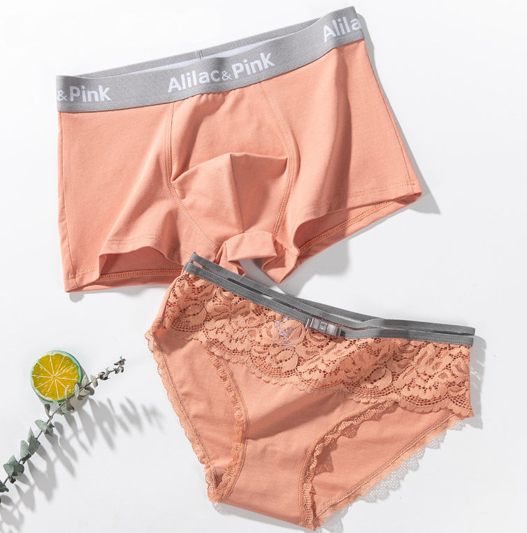 Orange Lace Cotton Couple Underwear - Pinklouds