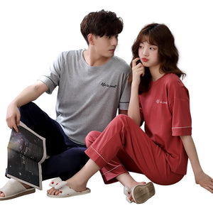 In summer, cotton short-sleeved cotton pajamas for lovers can be worn outside