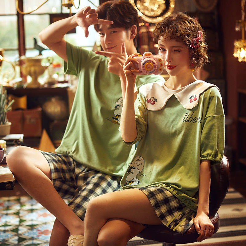 Green in Summer Couple T-shirt & Shorts Matching Pajama