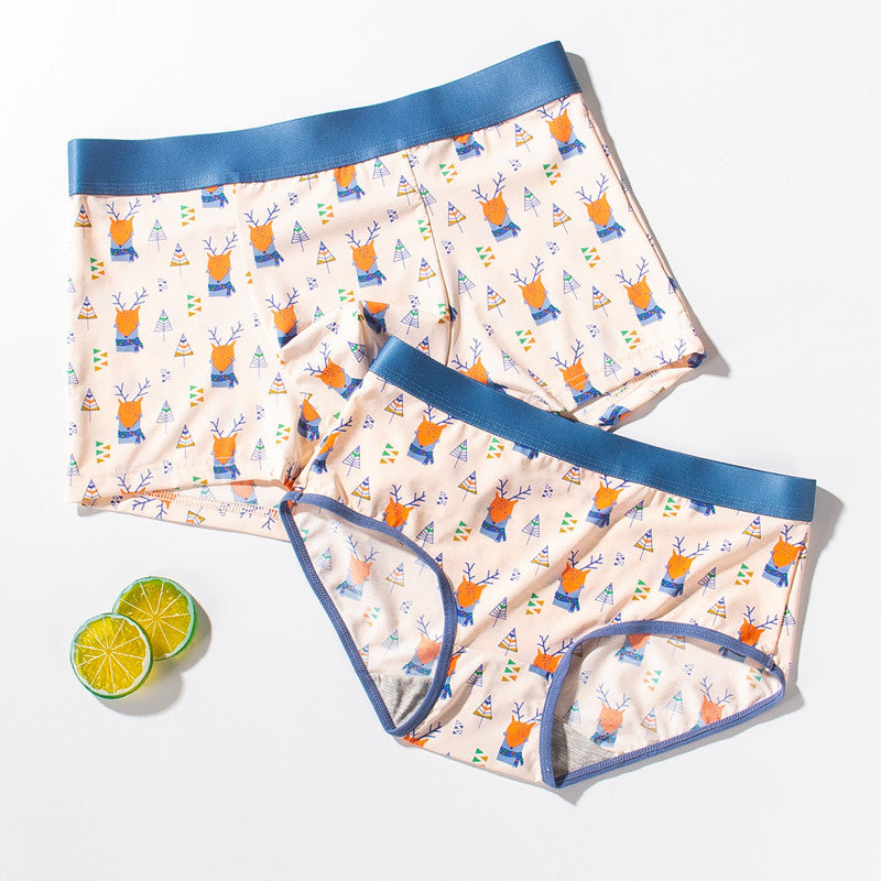 Elk and Moose Ice Silk Couple Underwear - Pinklouds