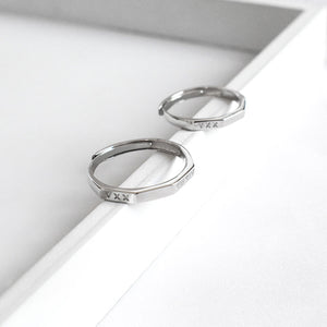 Couple's Adjustable Roman Alphanumeric Geometric Promise Ring - Sera - Pinklouds