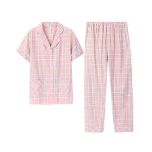 Plaid elements Couple T-shirt & Shorts Matching Pajama