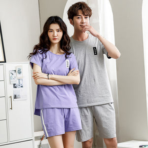 Couple-to-wear 100% cotton summer short-sleeved casual sports pajamas plus size loose-fitting home suit