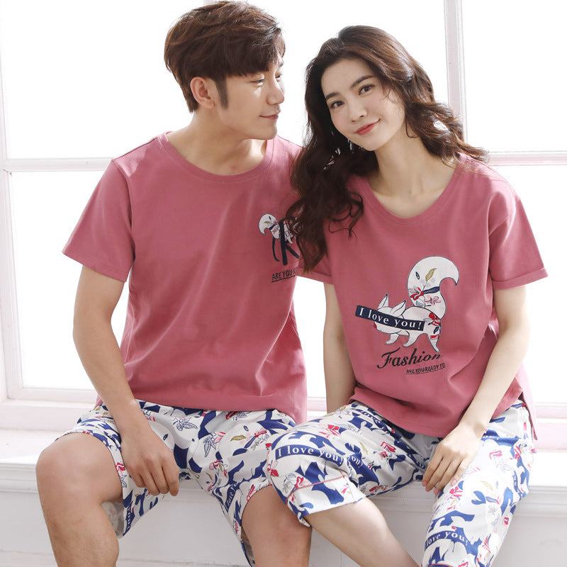 Couples pajamas 100% cotton summer casual short sleeved shorts ladies large size casual home wear men's pajamas