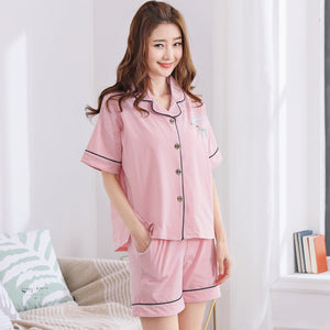 Couple Pajamas, 100% cotton, summer cardigan, short-sleeved casual shorts