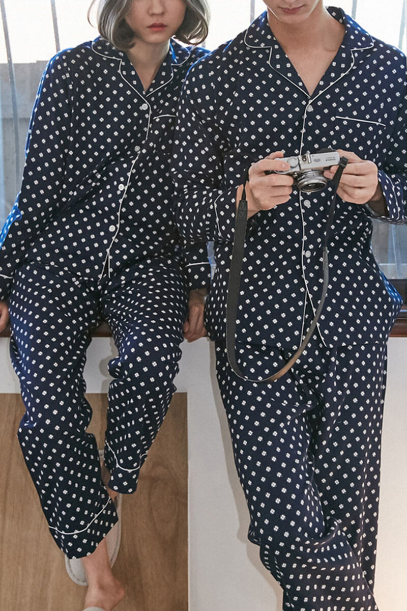 Cotton Four-Leaf Clover Couple Pajamas - Nez - Pinklouds