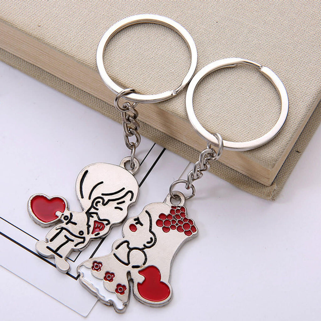 Couple's Zinc Alloy Keychain - Mort - Pinklouds