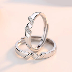 Couple's Adjustable Letter Rotation Promise Ring - Claudia - Pinklouds