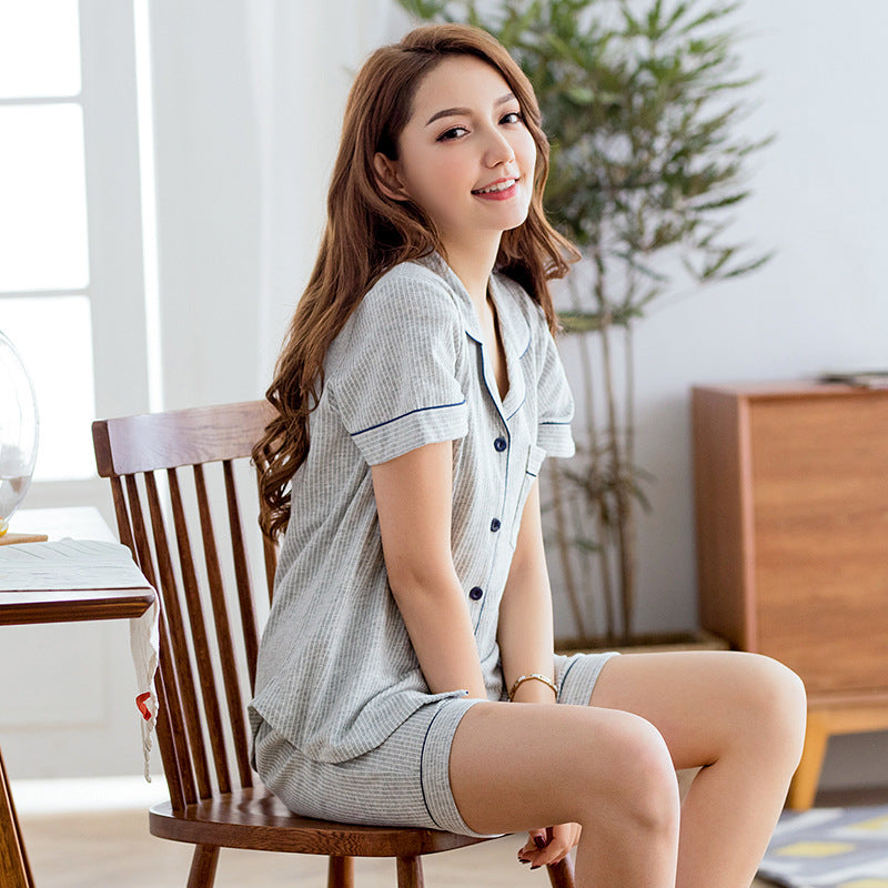 Summer's new cotton pajamas for women short sleeved two-piece men striped casual cardigan home wear