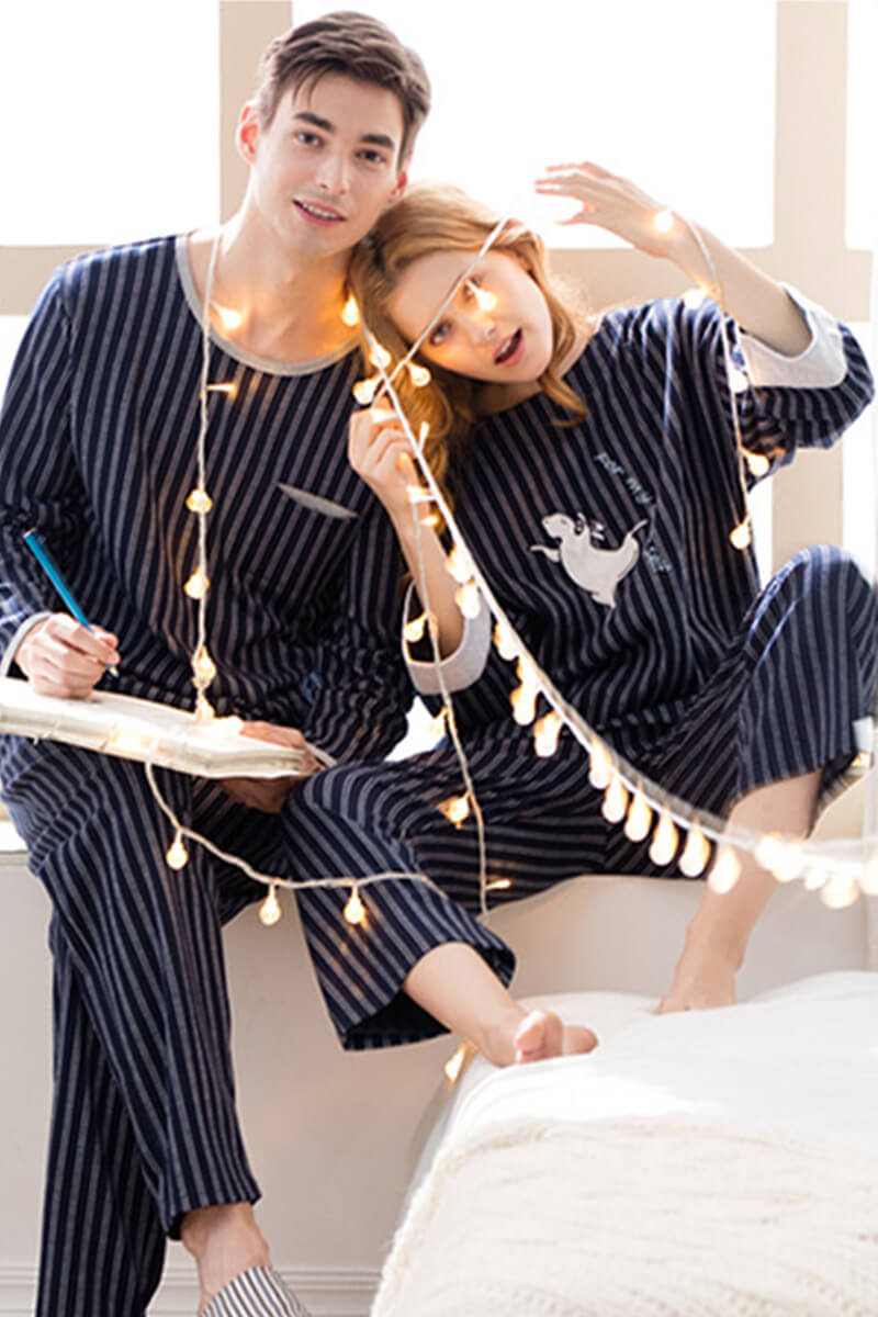 Navy Stripes Couple Matching Pajamas