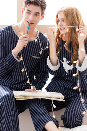 Stripes Couple Matching Pajamas - Randa - Pinklouds