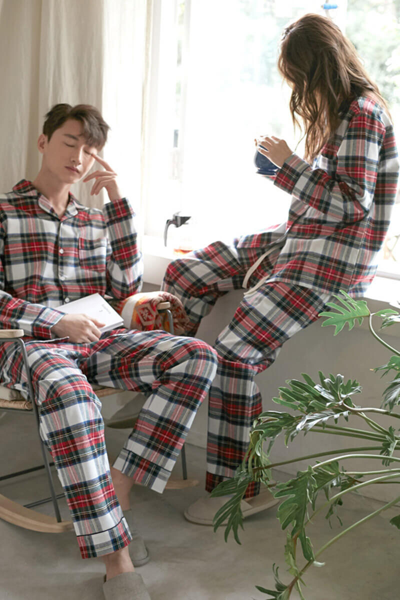 Red Scottish Style Couple Pajamas