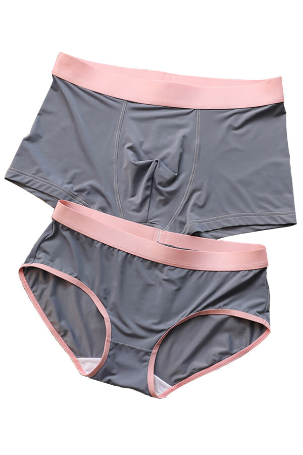 Gray Ice Silk Couple Underwear-His & Her Matching Apparel-Pinklouds