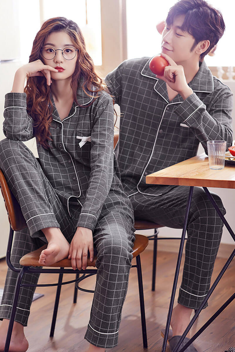 Cotton Plaid Couple Matching Pajamas - Auxier - Pinklouds