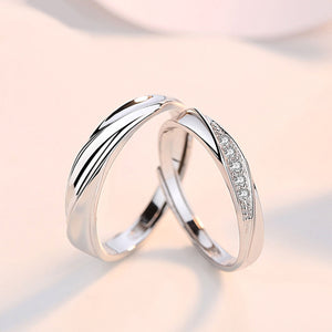 Couple's Adjustable Zircon Promise Ring - Ulrica - Pinklouds