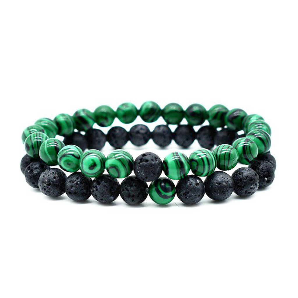 Couple's Lava Rock & Malachite Gemstone Bracelet - Makenzie - Pinklouds