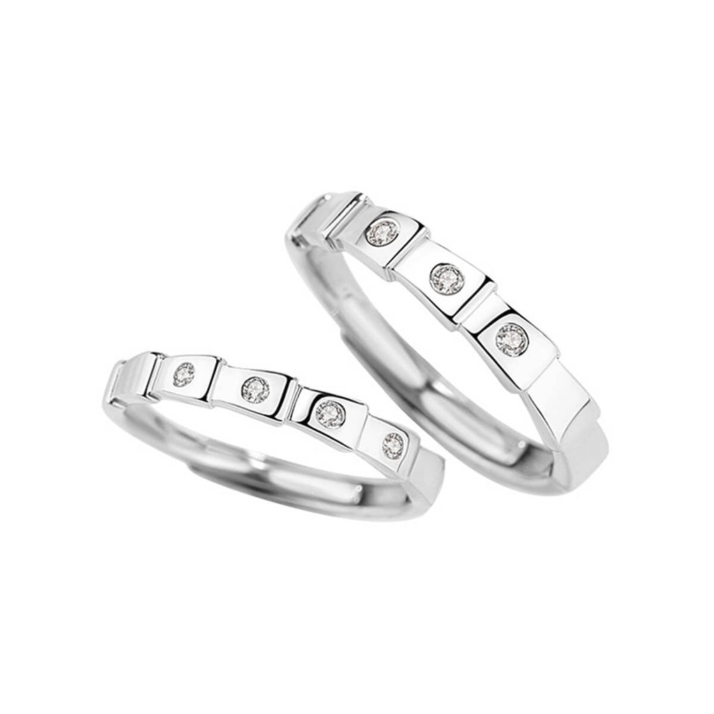 Couple's Adjustable Ladder Artificial Diamond Promise Ring - Chloe - Pinklouds