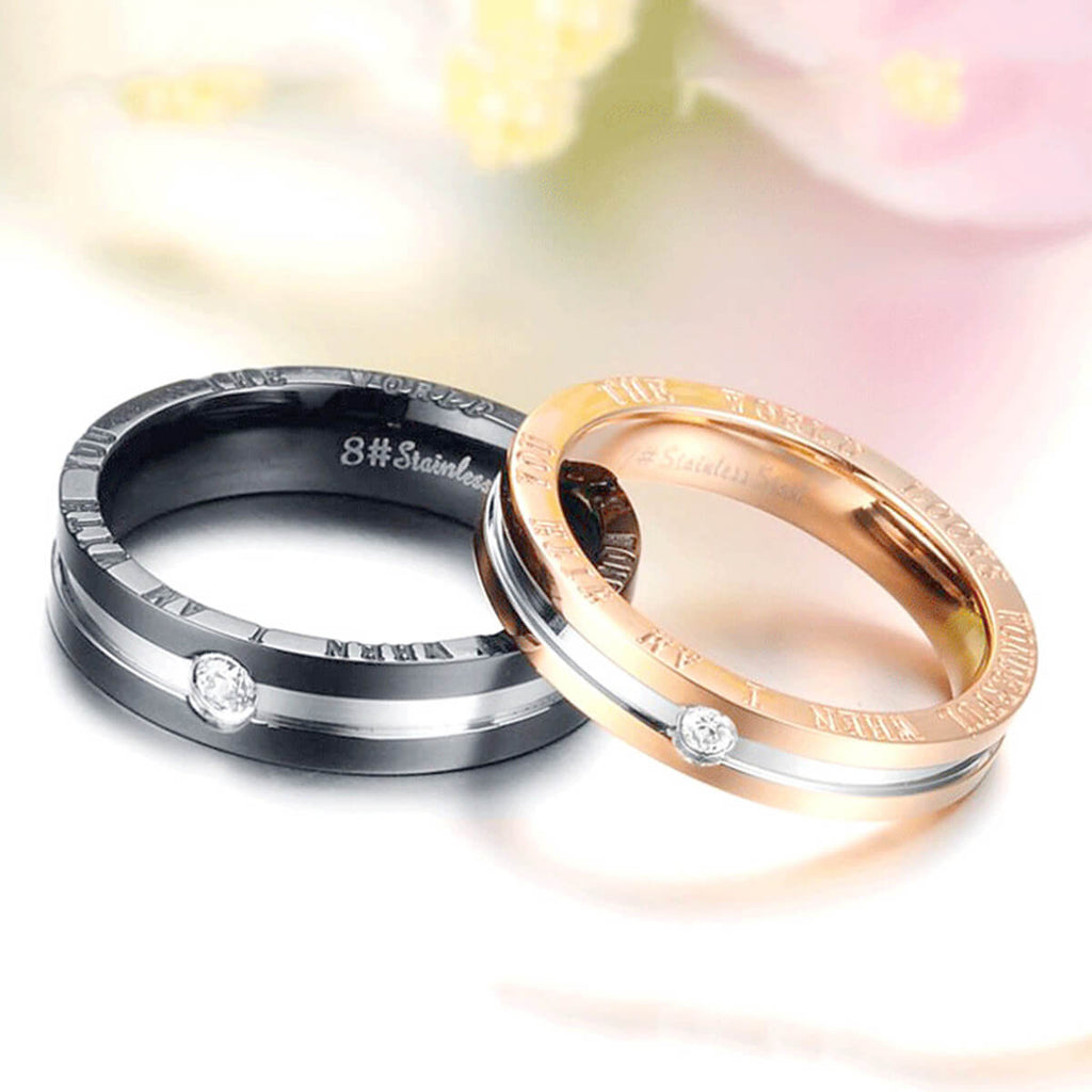Couple's Artificial Diamond Promise Ring - Isabel - Pinklouds