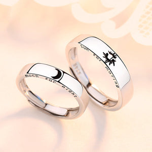 Couple's Adjustable Sun & Moon Pattern Promise Ring - Izefia - Pinklouds