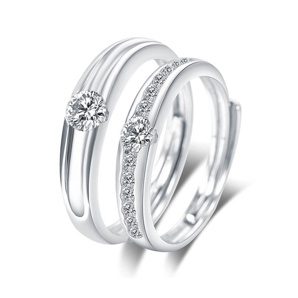 Couple's Adjustable Artificial Diamond Promise Ring - Danae - Pinklouds