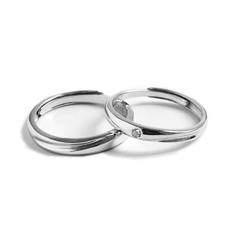 Couple's Adjustable Curved Single Drill Promise Ring - Serafina - Pinklouds