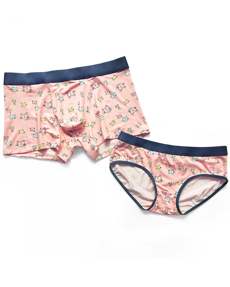 Pink Cat Modal Cotton Couple Underwear-His & Her Matching Apparel-Pinklouds