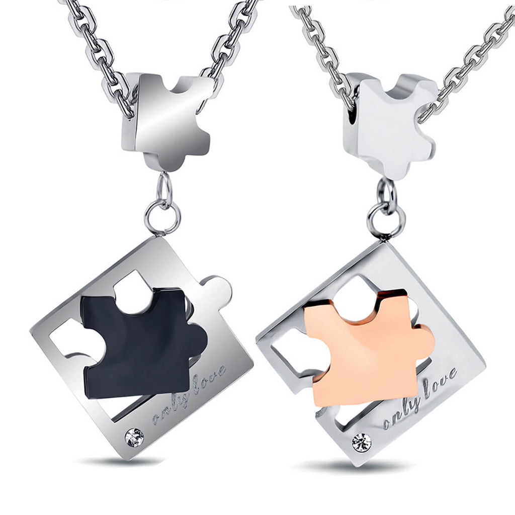 Couple's Puzzle Titanium Steel Necklace - Avery - Pinklouds