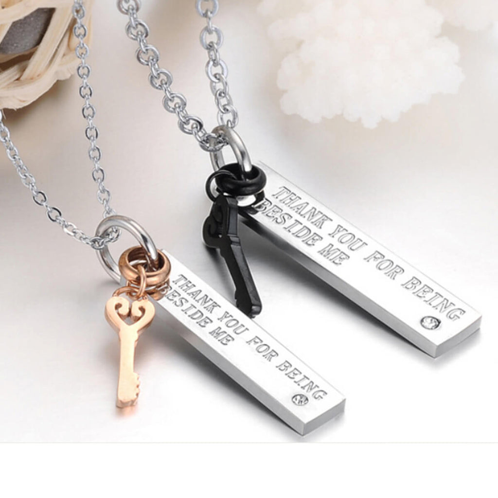 Couple's Key & Promise Titanium Steel Necklace - Natalie - Pinklouds
