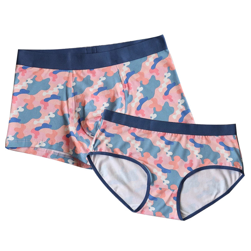 Ice Silk Camo Pattern Couple Matching Underwear - Pink Camo - Pinklouds