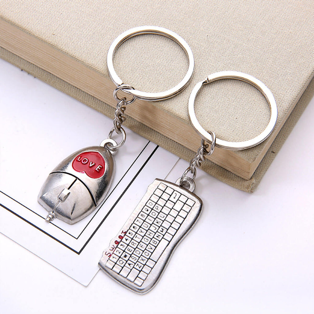 Couple's Keyboard & Mouse Zinc Alloy Keychain - Kaylee - Pinklouds