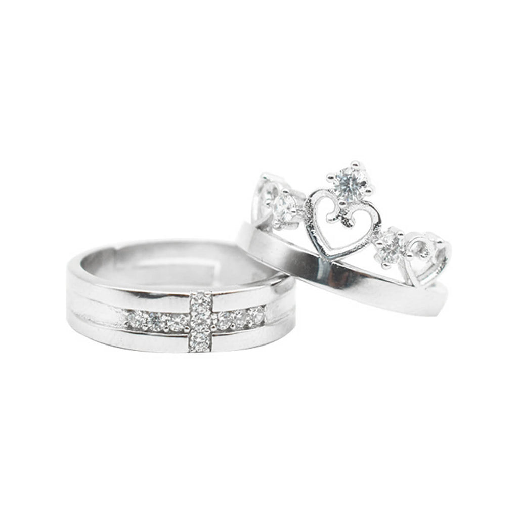 Couple's Adjustable Crown & Cross Promise Ring - Aletta - Pinklouds