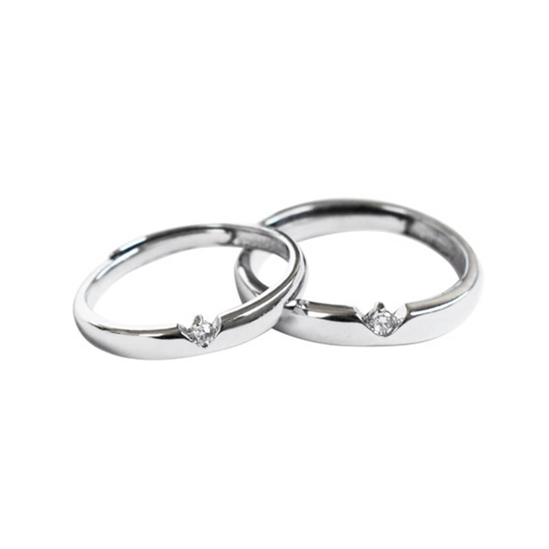 Couple's V-Shape Artificial Diamond Inlay Promise Ring - Elodie - Pinklouds