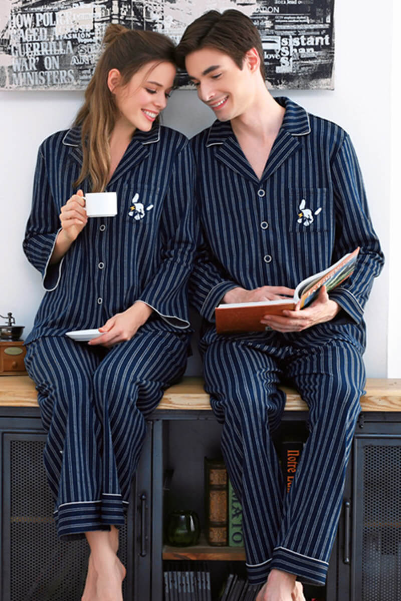 Navy Vertical Stripes Couple Matching Pajamas