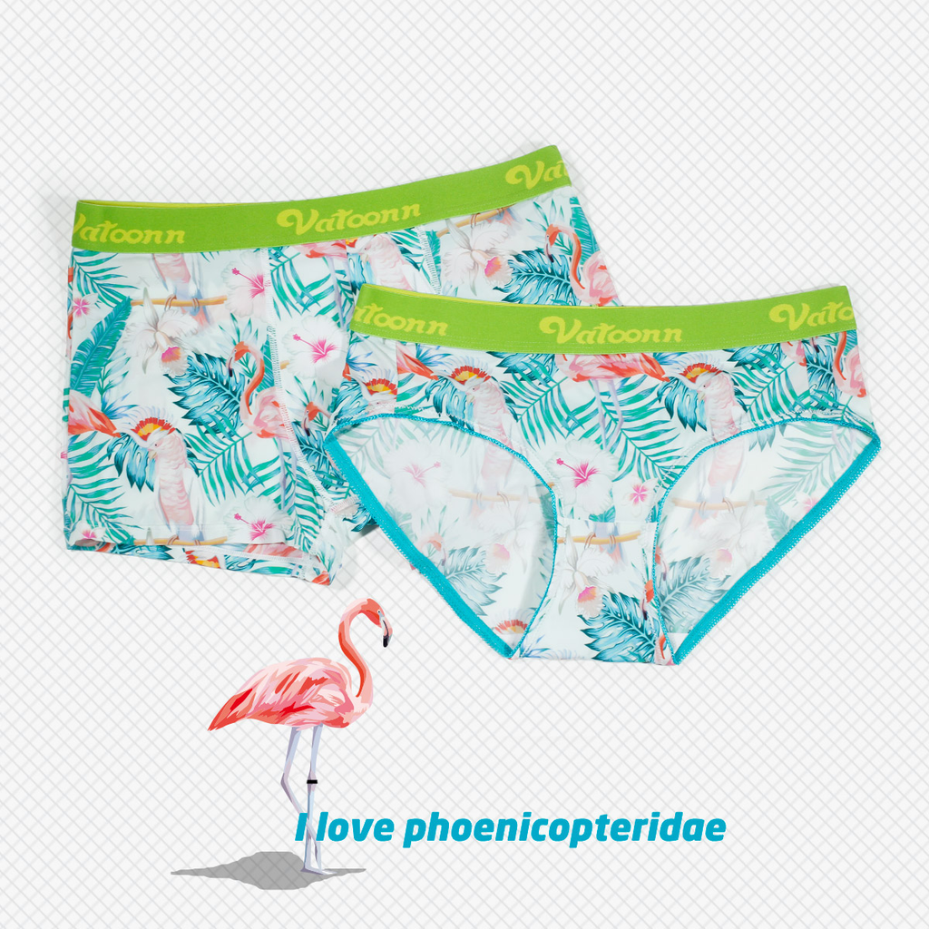 Flamingo and Leaves Ice Silk Couple Underwear