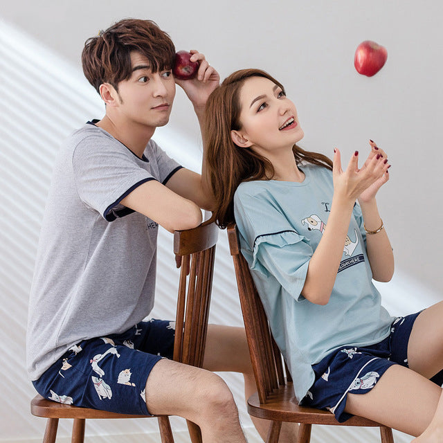 Couple Pajamas Short sleeved shorts cotton cute cartoon leisure suit