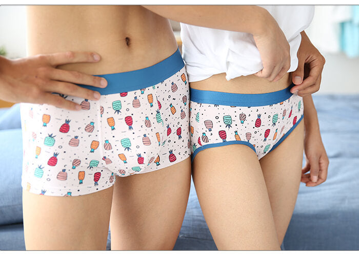 Cute Pineapple Couple Matching Underwear - The Mornings - Pinklouds