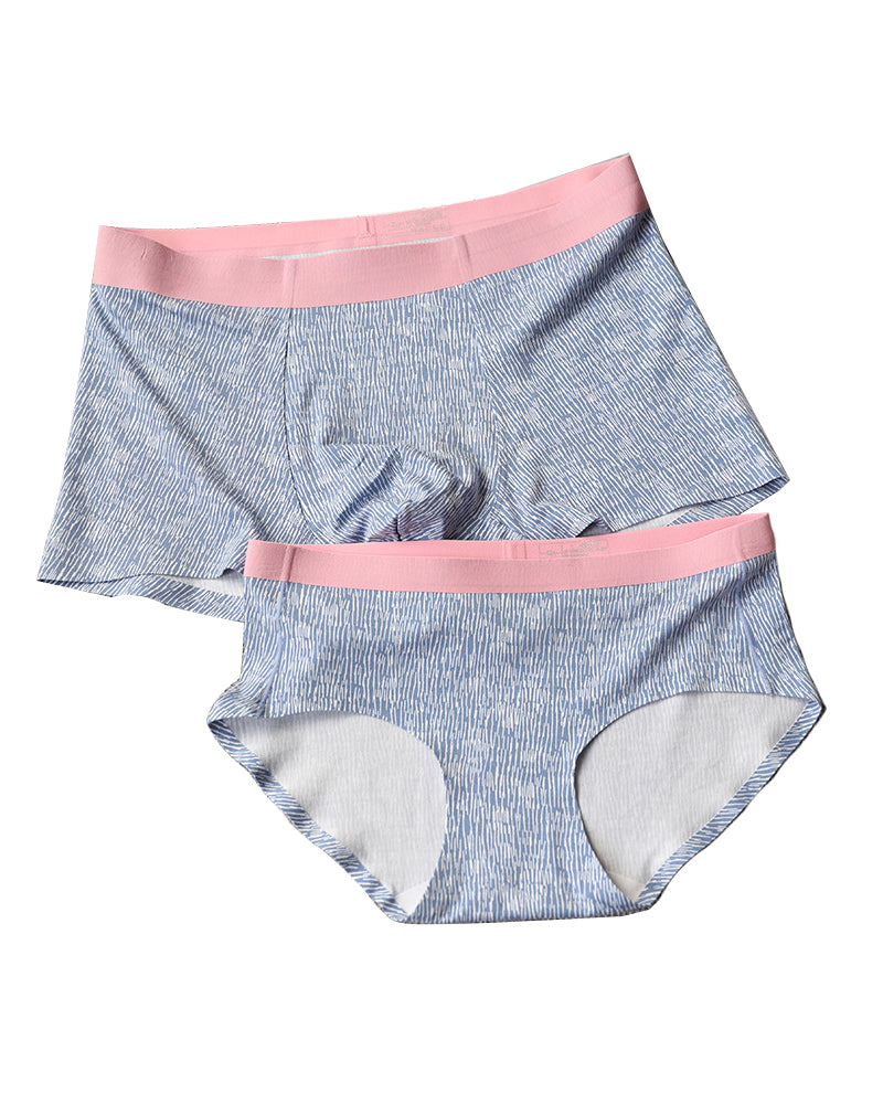Modal Cotton Couple Matching Underwear - Aurora Blue - Pinklouds