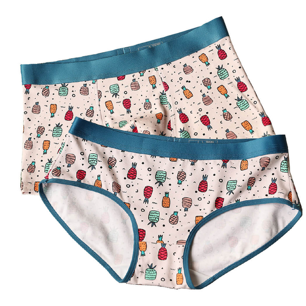 Cute Pineapple Couple Underwear-His & Her Matching Apparel-Pinklouds